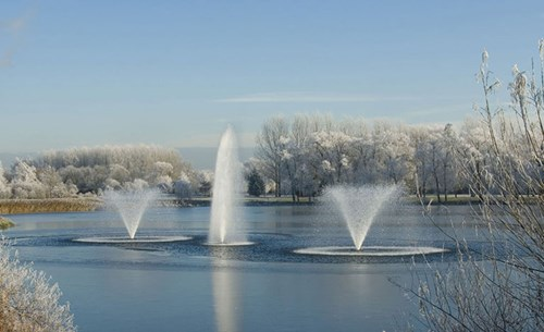 Otterbine's Aerating Fountains in winter time