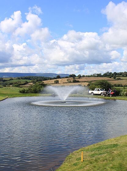 An Otterbine Aerating Fountain at the Celtic Manor Resort