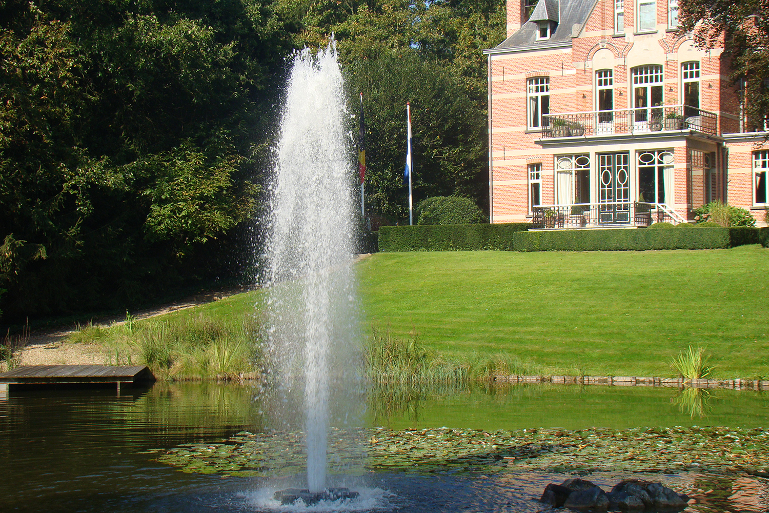 One of Otterbine's Comet Aerating Fountains in a small pond