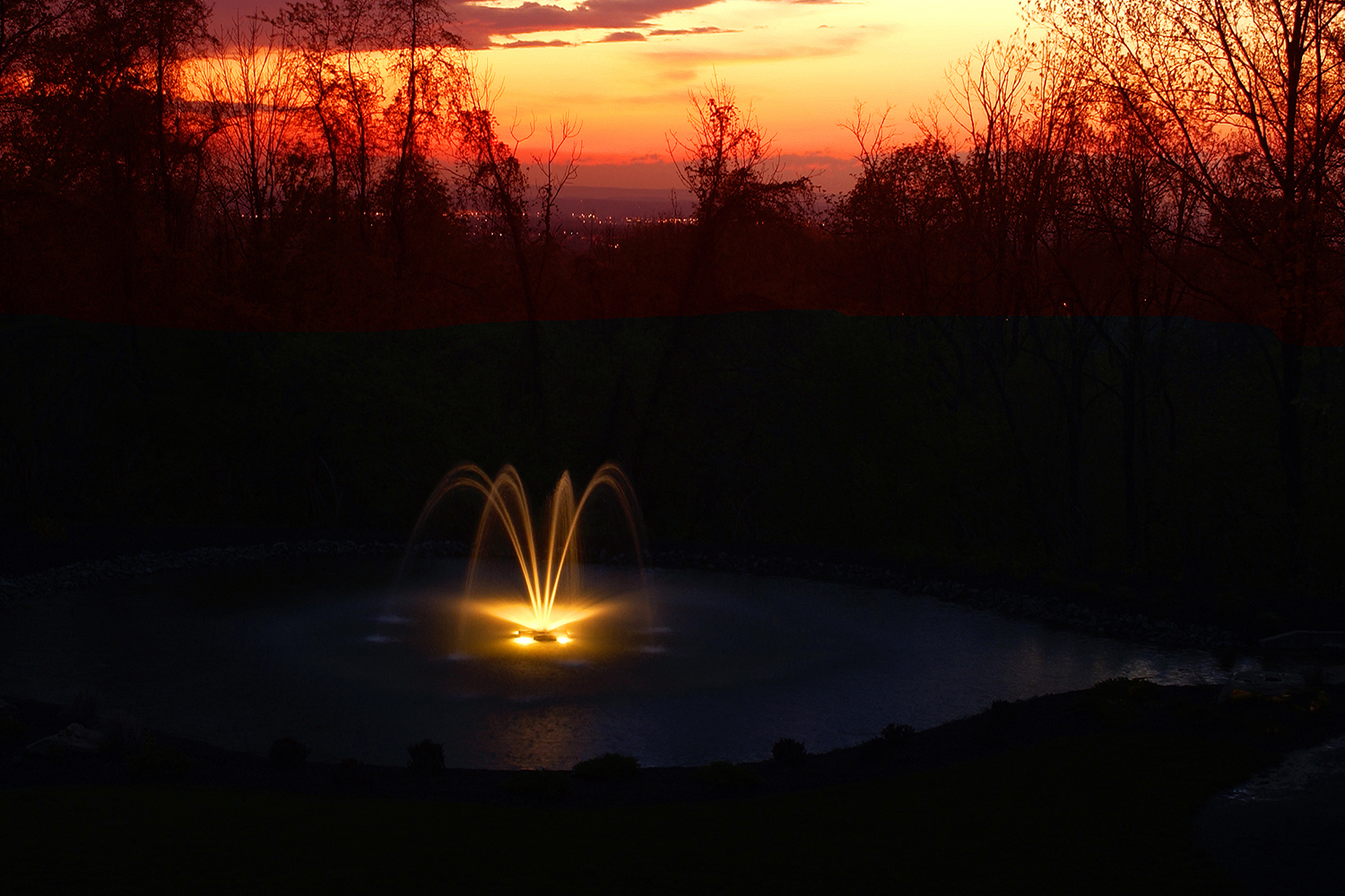One of Otterbine's Constellation Two-Tiered Water Fountain with Lighting