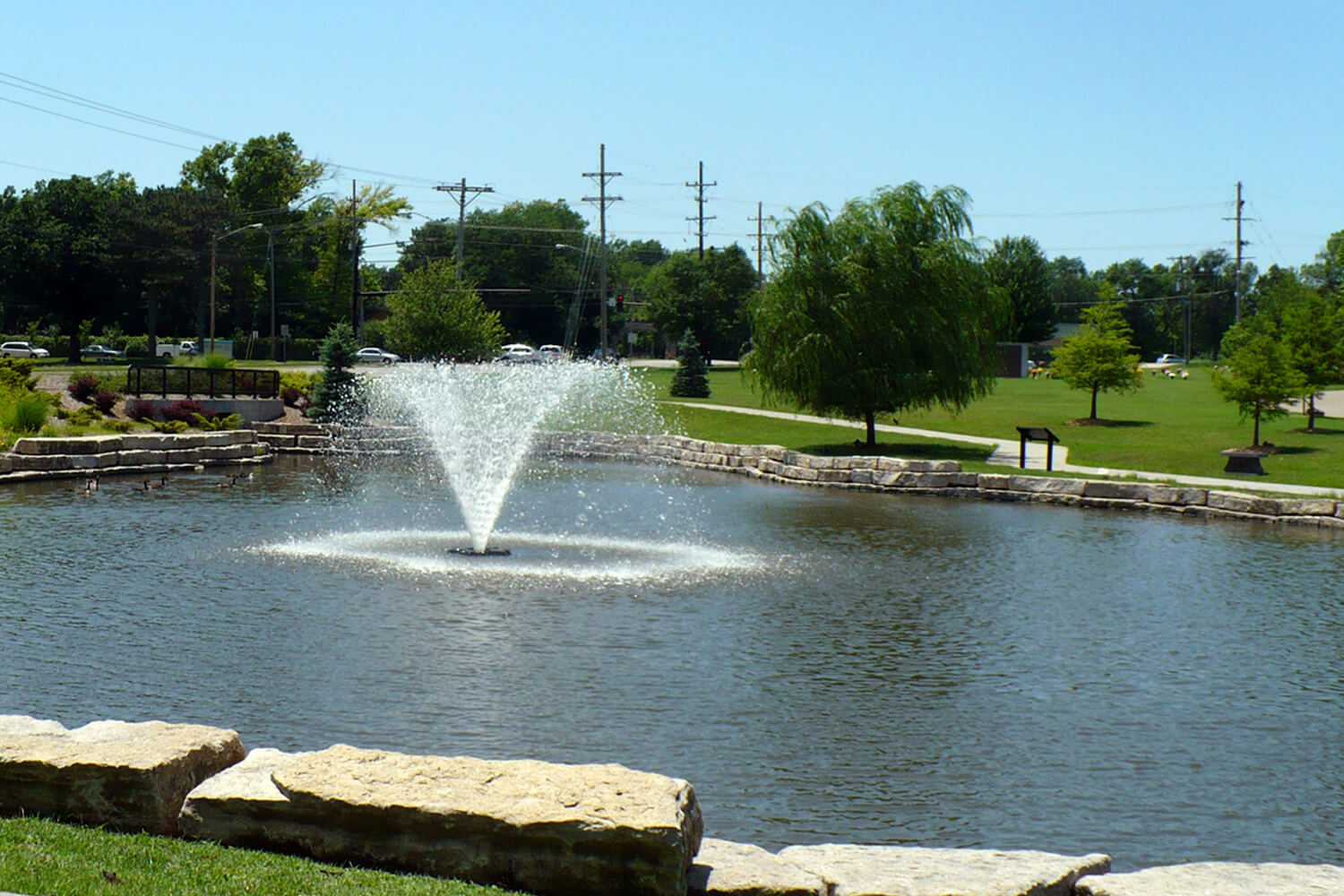 One of Otterbine's Gemini Aerating Fountains in a park