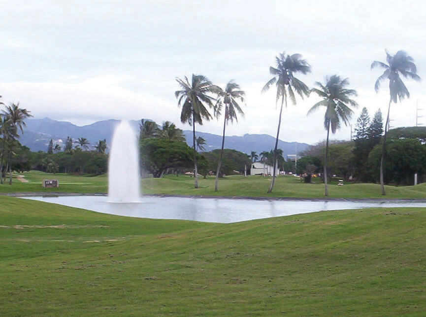 An Otterbine Aerating Fountain at the Navy Marine Golf Course