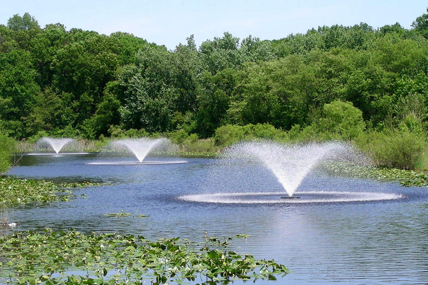 A series of Otterbine's Sunburst Aerating Fountains
