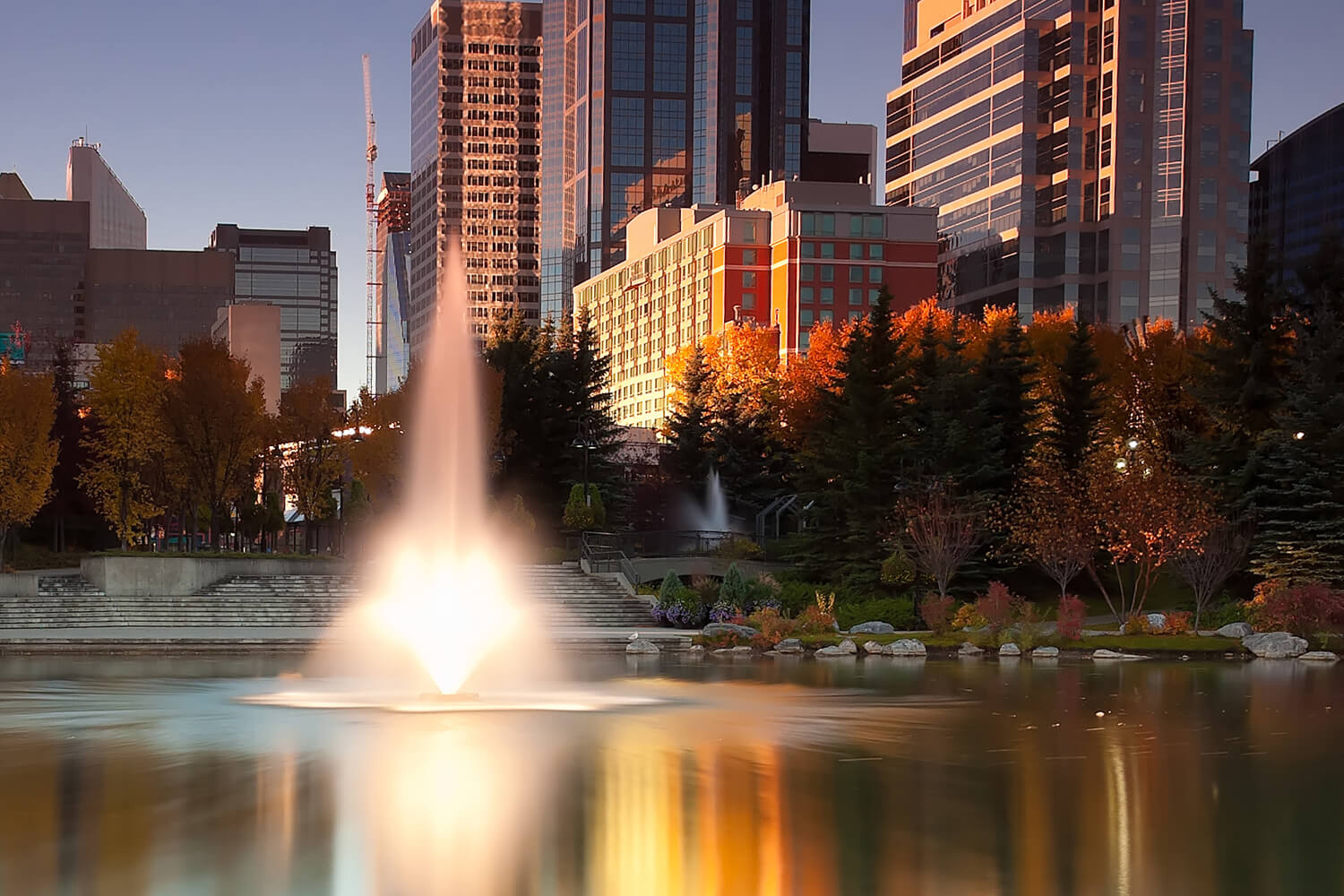 One of Otterbine's Tristar Aerating Fountains in a downtown area