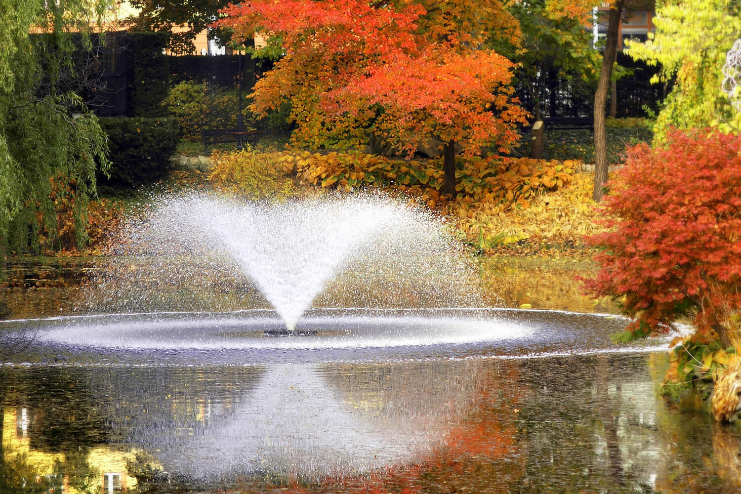An Otterbine aerating fountain makes the park's autumn colors stand out