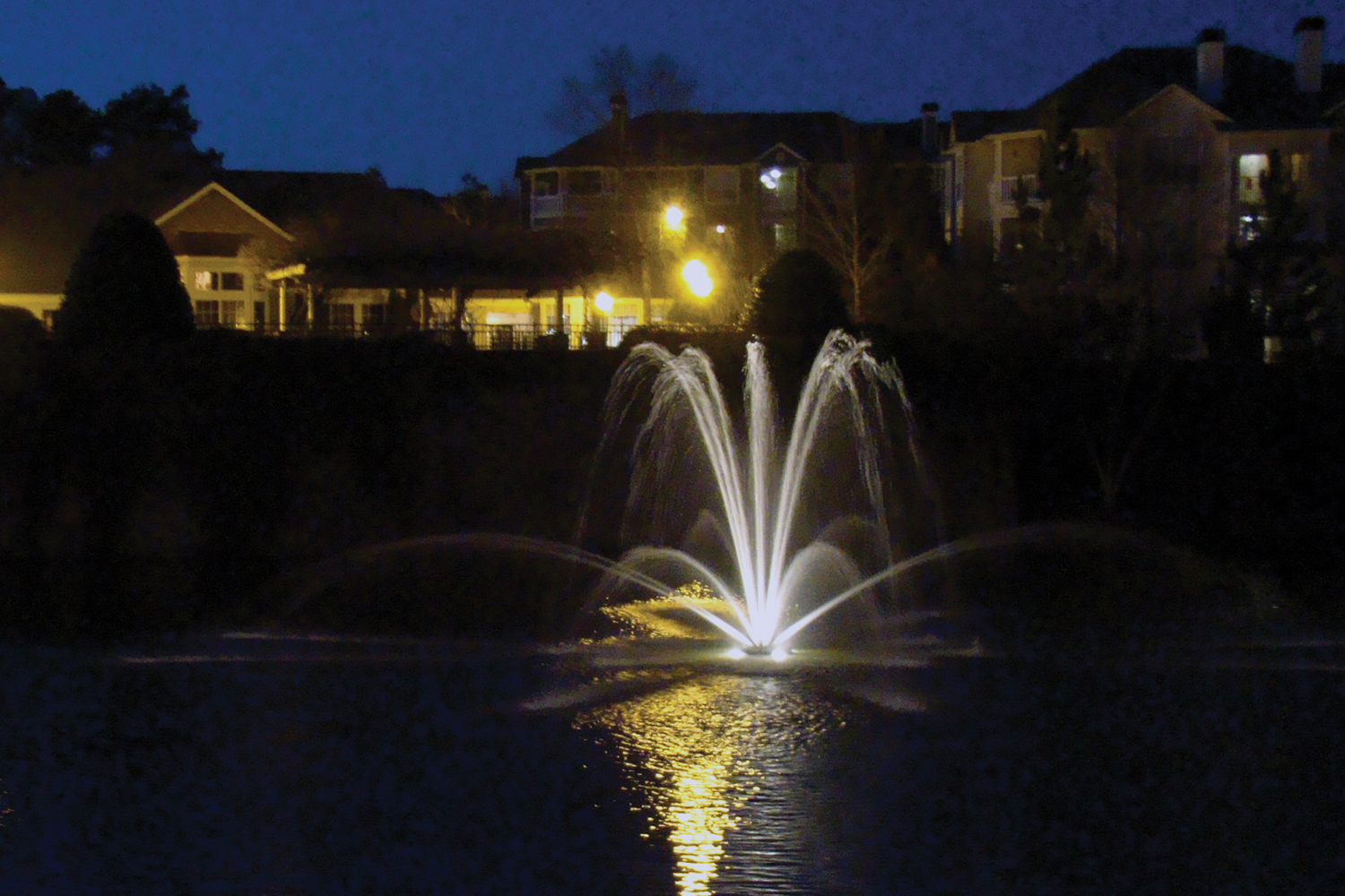 One of Otterbine's Genesis Aerating Fountains at night